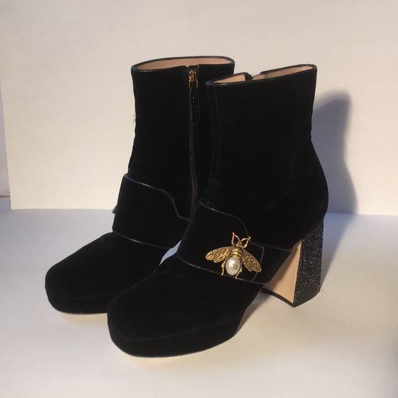 Gucci Shoes | Gucci Velvet Ankle Boot W